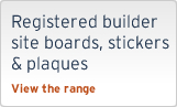 Registered builder site boards, stickers & plaques
