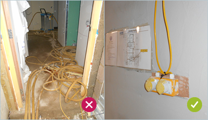 Avoid trailing cables and keep them raised off the floor