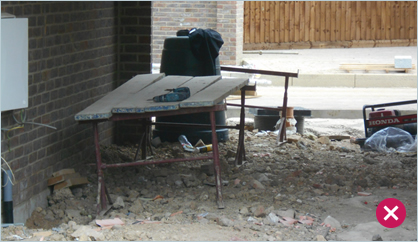Make sure individuals tidy up after themselves so the next contractor starts with a clear working area