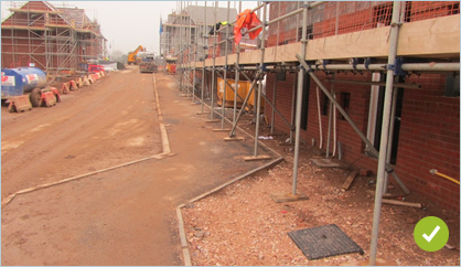 Where possible get your final road and pavements in first to avoid working in the mud